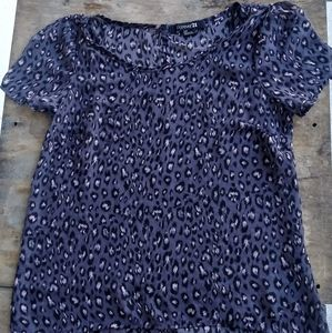 FOREVER21 PURPLE BLOUSE WITH LEOPARD PRINT